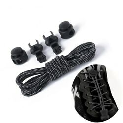 No Tie Elastic Shoelace Lock Laces Shoe Strings Fastening Locking Toggle Sports