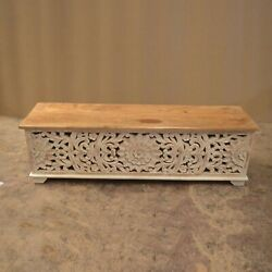 Made To Order Indian Handmade Jali Carved Chest Box Coffee Table Whitewash Trunk