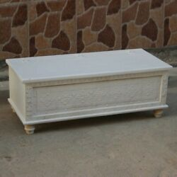 Made To Order Indian Hand Carved White Blanket Box Trunk Coffee Table Chest Larg