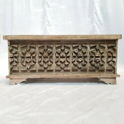 Made To Order Indian Solid Wood Carved Chest Storage Blanket Box Coffee Table