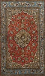 Antique Floral Shahreza Traditional Handmade Area Rug Wool Oriental Carpet 5and039x7and039