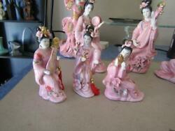 The First Girl Band Geishas Porcelain Pink 3 Figurines Set Japanese Band 5.5 T