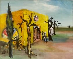 Synagogue The Last Jew Painting Expressionism Oil Canvas Judaica Signed
