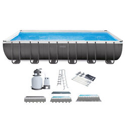Intex 26363eh 24 X 12and039 X 52 Rectangular Ultra Xtr Frame Swimming Pool W/ Canopy