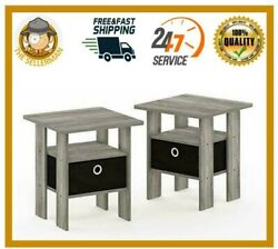 Wood Farmhouse Table End Rustic Cabin Side Drawer Log Nightstand Bedside