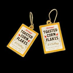 Kelloggs Corn Flakes Earrings Enamel Boxes Of Toasted Cereal Vintage Pierced