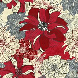 Cross Stitch Stamp Printed Kit 11 Count Printed Cotton 16x16 Red Gray Flowers