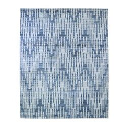 8and039x10and039 Zigzag With Graph Design Blue Pure Silk And Textured Wool Rug R66377