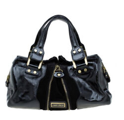 Jimmy Choo Suede Marla Black Patent Leather Suede Satchel