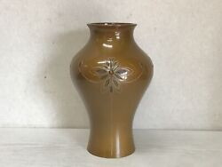 Y2492 Flower Vase Copper Inlay Home Decor Interior Japan Antique Ikebana