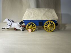 Antique Cast Iron Covered Blue Wagon With White Horses Toy 1935