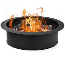 36 Round Steel Fire Pit Ring Liner Diy Wood Ground Outdoor Fire Burning Insert
