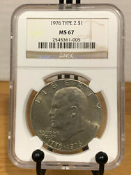 1976 Ike Eisenhower Dollar Type 2 T2 Ngc Ms67 Mint State 67 Top Pop