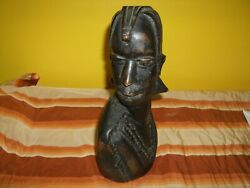 Antique African Stain Hard Wood Hand Carved Warrior Bust Showing Head, C.1900