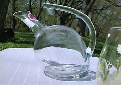Wine /beverage Decanter With Glass Curved Handle And Modern Tilted Glass_christmas