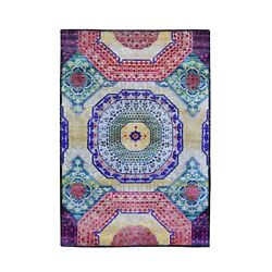 4and039x6and0392 Sari Silk With Textured Wool Mamluk Design Hand Knotted Rug R66495