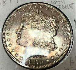 1879 Morgan Silver Dollar Unc.rainbow Toneing Full Hairlines Chest Feathers.