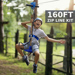 160ft Zip Line Kit Spring Brake Disk Trolley Safety Wire Rope Outdoor Adventure