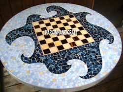 White Marble Dining Chess Modern Table Top Inlay Patio Decorative Rare Art H4042