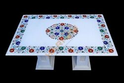 3'x2' Table Top With 14 Base Made From White Marble And Multi Floral Inlay W615