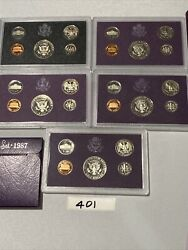 Lot Of 5 Us Mint Proof Sets, 1983 -1987, 401 Free Shipping