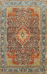 Floral Semi-antique Brown Ardakan Traditional Hand-knotted Area Rug 8x11 Carpet