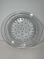"""Princess House Nouveau Clear Glass Steamer Strainer Insert 10"""" Made In France"""