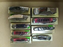Vintage New Old Stock In Box Frost Cutlery 9 Knife Lot Japan Bone And Stag