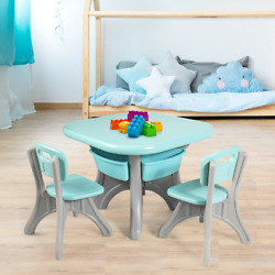 Plastic 3-piece Children Kids Table And Chair Set Toddler Play Furniture Home New