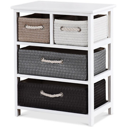 Storage Drawer Unit 4 Woven Basket Cabinet Chest Bedside Table Nightstand Home