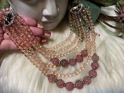 Miriam Haskell Early Rare Stunning Heavy Art Glass Crackle Pink Necklace A1