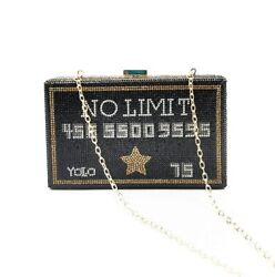 No Limit Black Card Yolo Women Crystal Clutch Purse Metal Evening Bags Handbag $60.00