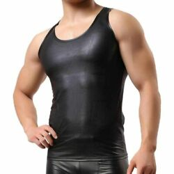 Black Mens Real Lambs Leather Vest Sexy Clubwear Most Sizes