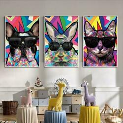 Cartoon Animal Cat Wearing Glass Dog Canvas Oil Painting Art Posters And Prints