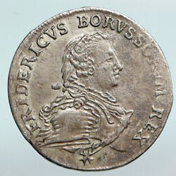 1751 A German States Prussia King Friedrich Ii Old Silver 1/6 Thaler Coin I90323