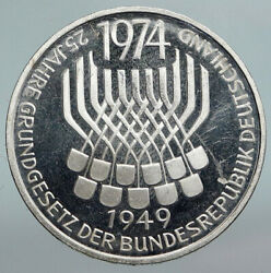 1974 F Germany 25 Years Of German Federal Constitution Law Silver 5 Mark I90360