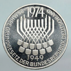 1974 F Germany 25 Years Of German Federal Constitution Law Silver 5 Mark I90364