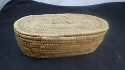 Antique Shaker Sewing/glove Box Woven With Lid 9 3/4 X 5 1/2