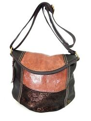 the SAK purse DEENA Hobo Bag Dark amp; Whiskey brown w Metallic bronze ZIP TOP euc $38.00