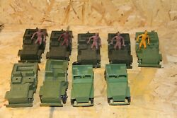 Big Lot 9 Mpc Vintage Army Green Jeep With 5 Driver Toy Soldiers Army Men
