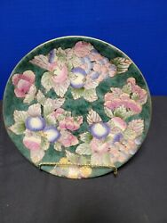 Andrea Sadek Decorative Plate Green W Multi Colored Leaves Fruit And Grapes W Gold