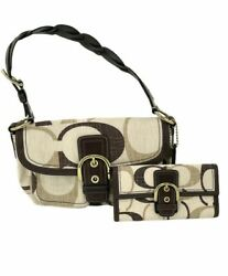 COACH 12194 Signature Brown Ivory Linen amp; Leather Handbag With Matching Wallet $90.00