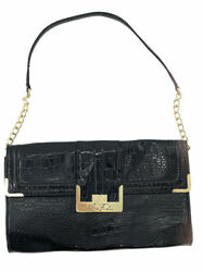 Marc Fisher Large Shoulder Bag Flap Front Handbag Purse Black 12quot; x 7quot; Gold $25.00