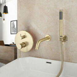 Bathroom Hand Shower Faucets Set Brushed Gold Wall Mounted Mixer Bathtub Tap