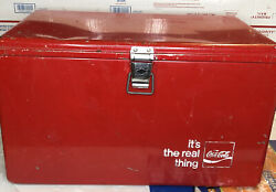 """Coca Cola Cooler Vintage Coke Ice Chest It's The Real Thing 22""""x13"""" W/ Handles"""