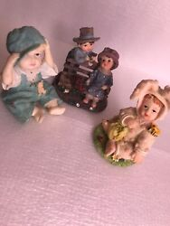 """Ks Collection Lot Of 3 Figurines Adorable Children 3.5"""" Tall"""