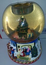 Partylite Christmas Morning Snow Globe Candle Holder Windup Music Winter Holiday