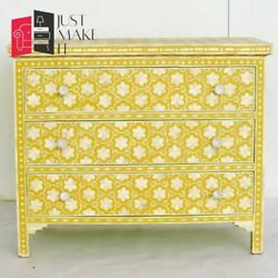 Bone Inlay Yellow Chest Of Drawer Floral Made To Order