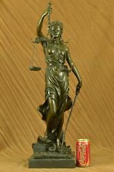 Collectible Art Bronze Sculpture 29.5 Tall Blind Justice Law Marble Lady Scale