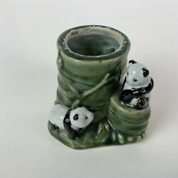 Small Majolica Vase/planter - Two Playful Planters Lounging On Bamboo Tree
